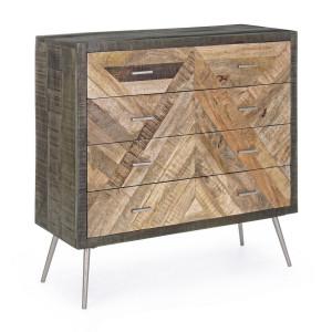 Comoda 4 sertare din lemn mango gri maro si picioare fier Norwood 85 cm x 35 cm x 85 h