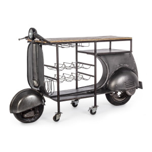 Consola tip Bar model Motocicleta din fier negru si lemn natur Vespa 183 cm x 43 cm x 105 h