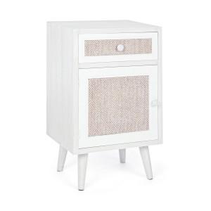 Noptiera 1 sertar si 1 usa din lemn alb bej crem Montiel 40 cm x 31.5 cm x 67 h