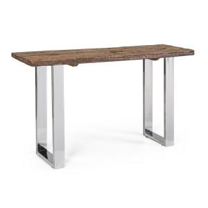 Consola cu picioare din inox blat lemn maro Winchester 130 cm x 40 cm x 76 h