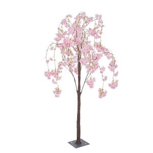 Copac decorativ cu flori artificiale cires roz 80x140h