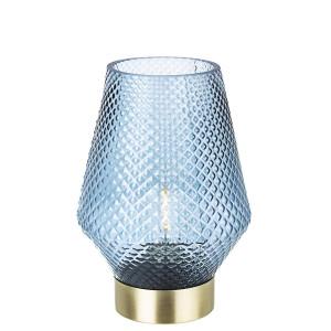 Veioza cu baza din metal auriu si abajur sticla albastra Mumbai Ø 12 cm x 17.5 h