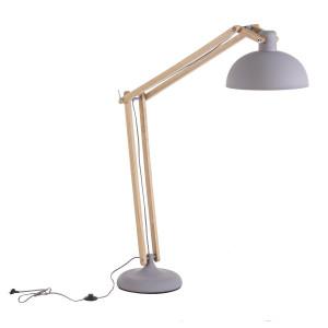 Lampadar metal gri lemn natur Avatar 56 cm x 36 cm x 170 h