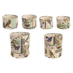 Set 6 cosuri depozitare din textil multicolor Botanic Ø 42 cm x 48 h