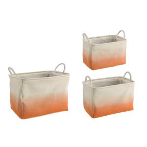 Set 3 cosuri depozitare din textil crem portocaliu 42.5 cm x 29.5 cm x 29 h