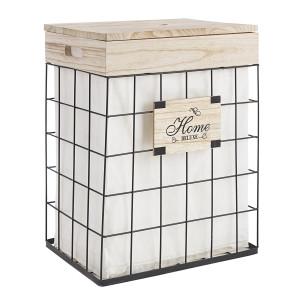 Cos de rufe din metal negru cu lemn Home 42 cm x 31 cm x 54 h