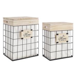 Set 2 cosuri de rufe din metal negru cu lemn Home Deluxe 42 cm x 31 cm x 54 h