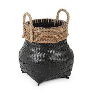 Cos decorativ din bambus negru Priscilla 36 cm x 36 cm x 45 h