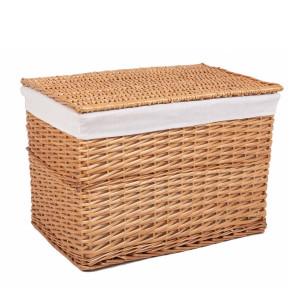 Cos depozitare din lemn de salcie si textil natur Laren 60 cm x 42 cm x 42 h