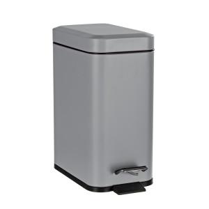 Cos de gunoi cu clapeta deschidere metal argintiu 28 cm x 14 cm x 30 h 5 L