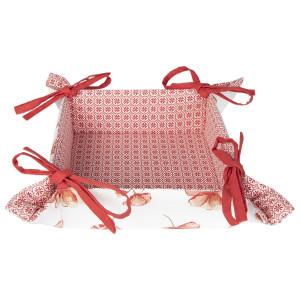 Cos paine bumbac alb rosu model Floral 35 cm x 35 cm x 8 cm