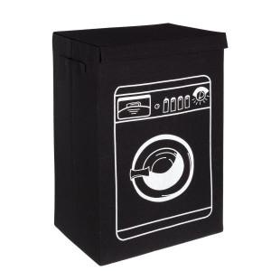 Cos rufe textil negru alb Wash 40 cm x 30 cm x 60 h