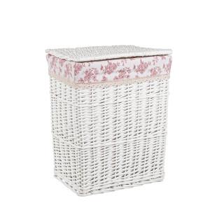 Cos rufe alb roz din rattan alb Cecilia 38 cm x 28 cm x 47 h