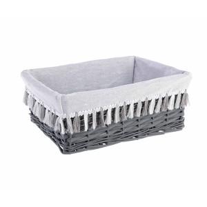 Cos decorativ polyester gri alb cu husa Gipsy 40 cm x 30 cm x 16 h