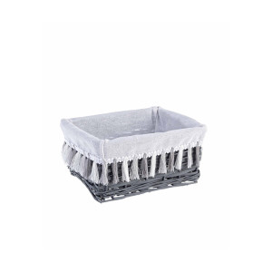 Cos decorativ polyester gri alb cu husa Gipsy 26 cm x 19 cm x 12 h