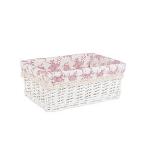 Cos decorativ rattan alb cu husa roz Cecilia 37 cm x 26 cm x 14 h
