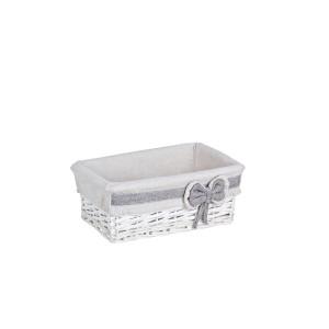 Cos decorativ rattan alb cu husa Ribbon 28 cm x 11 cm x 11 h
