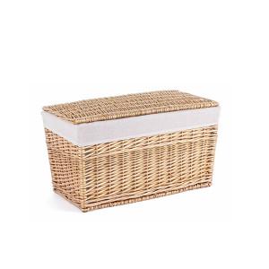 Cos depozitare din lemn de salcie cu husa textil natur alb Arlette 59 cm x 34 cm x34 h
