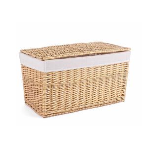 Cos depozitare din lemn de salcie cu husa textil natur alb Arlette 67 cm x 39 cm x 39 h