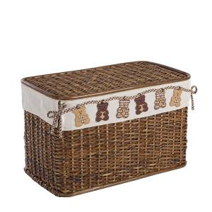 Cos depozitare din rattan textil maro Bear 60 cm x 35 cm x 38H