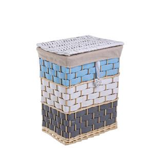 Cos rufe din rattan alb albastru negru 27cm x 38 cm x 49h