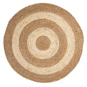 Covor rotund din iarba de mare natur alb Ø 80 cm