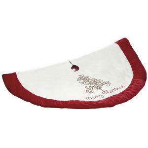 Covoras pentru brad rosu alb rotund Ø 117 cm