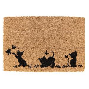 Covoras intrare casa antiderapant fibre cocos cauciuc Cats 60 cm x 40 cm x 1 h