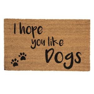 Covoras intrare casa antiderapant fibre cocos cauciuc Dogs 75 cm x 45 cm x 1 h
