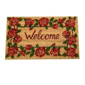 Covoras intrare casa antiderapant fibre cocos cauciuc Roses 75 cm x 45 cm