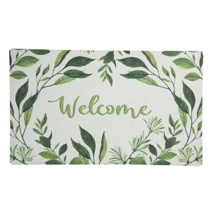 Covoras intrare antiderapant verde crem Welcome 74 cm x 44 cm