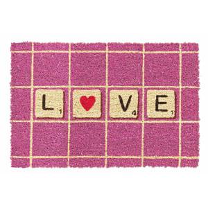Covoras intrare casa antiderapant fibre cocos cauciuc model Love 60 cm x 40 cm