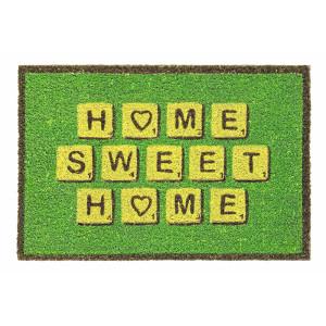 Covoras intrare casa antiderapant fibre cocos cauciuc verde 60 cm x 40 cm