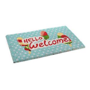 Covoras intrare casa antiderapant fibre cocos cauciuc Hello Welcome 60 cm x 40 cm