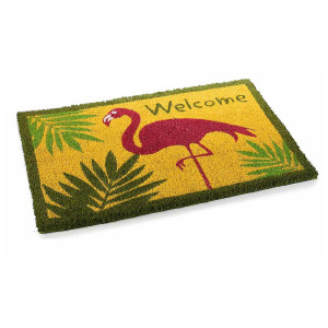 Covoras intrare casa antiderapant fibre cocos cauciuc Flamingo Welcome 60 cm x 40 cm