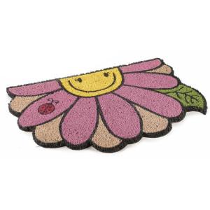 Covoras intrare casa antiderapant fibre cocos cauciuc Floare 60 cm x 40 cm