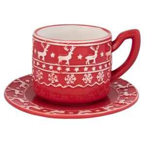 Ceasca cu farfurie ceramica rosu alb model Ren Ø 15x10 cm