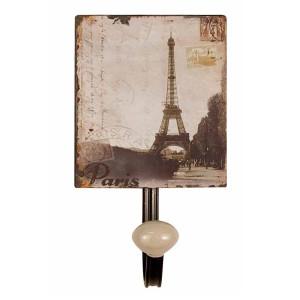 Cuier de perete din fier si ceramica Paris 12 cm x 7.5 cm x 13 h