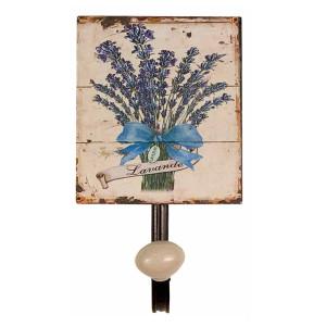 Cuier de perete din fier si ceramica Lavanda 12 cm x 7.5 cm x 13 h