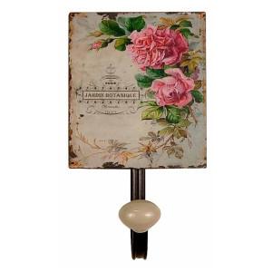 Cuier de perete din fier si ceramica Roses 12 cm x 7.5 cm x 13 h