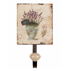 Cuier de perete din fier si ceramica Lavander 12 cm x 7.5  cm x 13 h