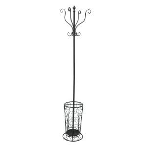 Cuier de podea cu suport umbrele din fier forjat negru 35 cm x 35 cm x 189 h