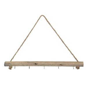 Cuier de perete din lemn natur cu 5 agatatori 60 cm x 4 cm