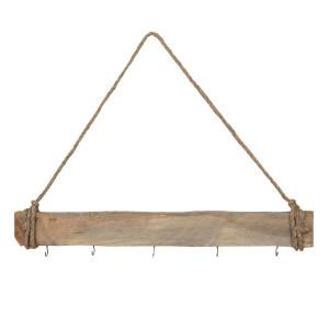 Cuier de perete din lemn natur cu 5 agatatori 60 cm x 7 h
