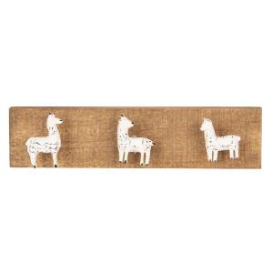 Cuier de perete din lemn maro cu 3 agatatori din fier alb antichizat 30 cm x 4 cm x 7  h