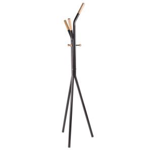 Cuier de pardoseala din lemn natur si fier negru Alain 46 cm x 46 cm x 178 h