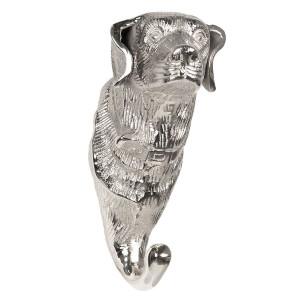 Cuier perete din aluminiu argintiu Dog 10 cm x 8 cm x 19 h