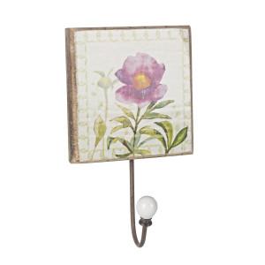 Cuier de perete lemn model Floare roz 14 cm x 14 cm