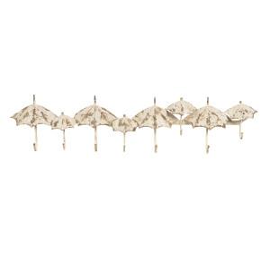 Cuier de perete fier forjat crem antichizat 8 agatatori model Umbrele 86 cm x 8 cm x 20 cm