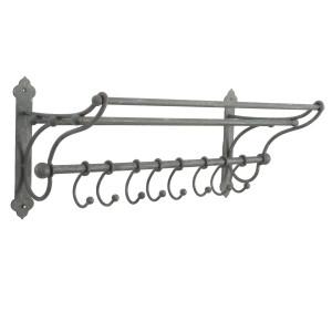 Cuier si suport prosoape fier forjat gri 8 agatatori 56 cm x 22 cm x 23 h
